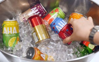 An ice tub full of Aha, Coca-Cola's new seltzer drink